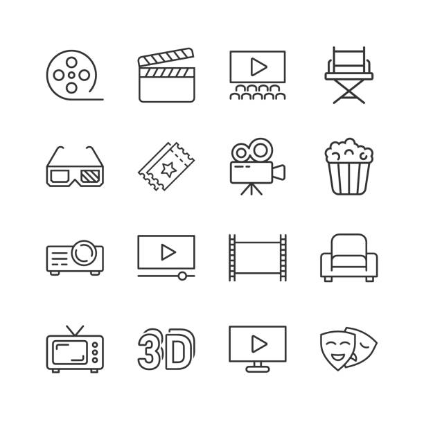 illustrazioni stock, clip art, cartoni animati e icone di tendenza di cinema line icon in flat style. entertainment set vector illustration on white isolated background. movie media business concept. - pellicola