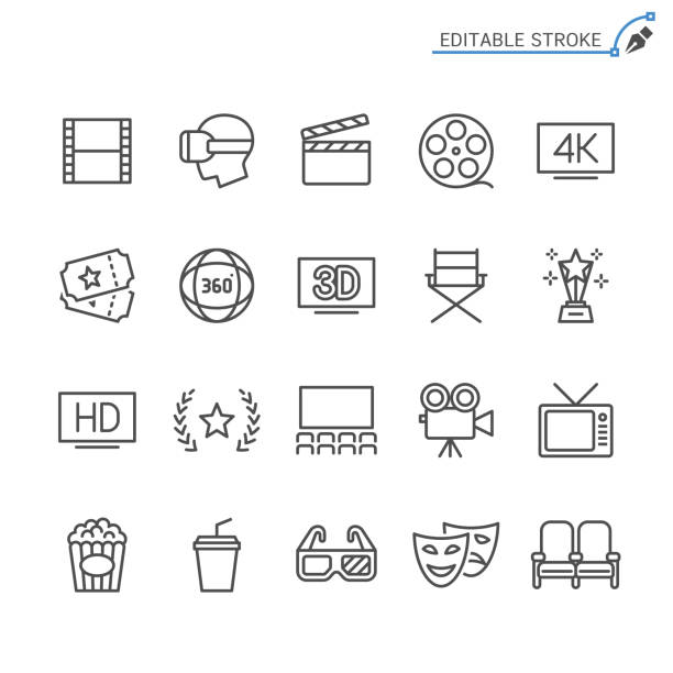 kino-linie symbole. editierbare schlaganfall. pixel perfekt. - film oder fernsehvorführung stock-grafiken, -clipart, -cartoons und -symbole