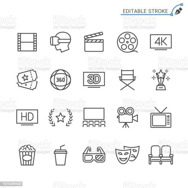 Kinolinie Symbole Editierbare Schlaganfall Pixel Perfekt Stock Vektor Art und mehr Bilder von 360-Grad-Panorama