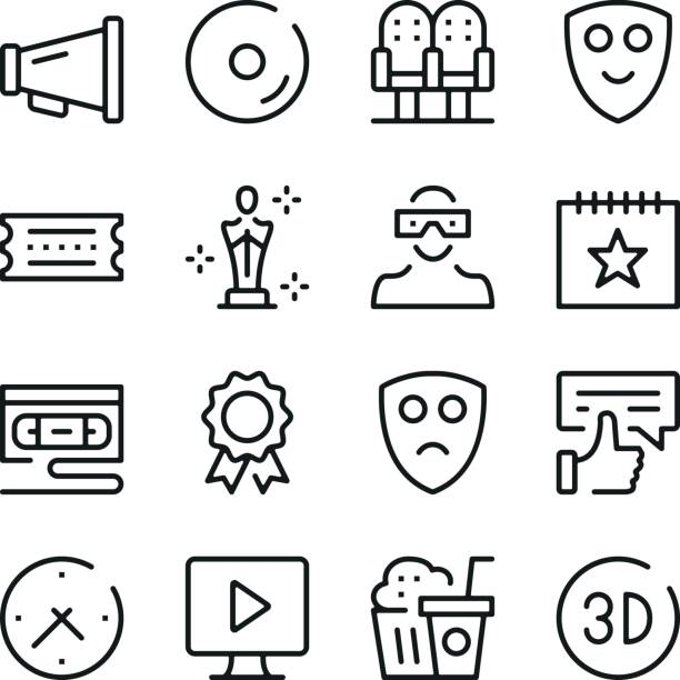 cinema line icons set. modern graphic design concepts, simple outline elements collection. vector line icons - oscars stock illustrations, clip art, cartoons, & icons