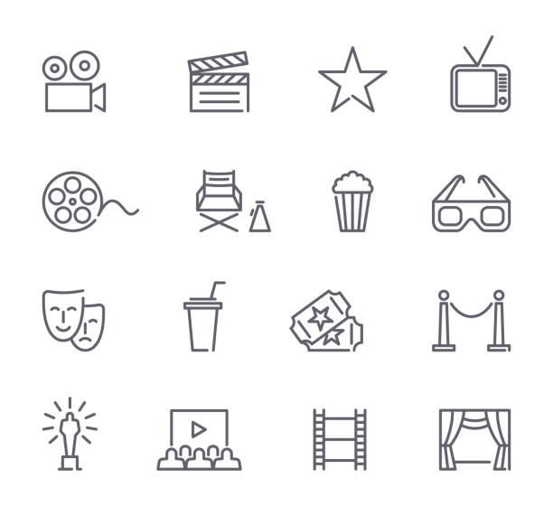 kino-linie symbole - film oder fernsehvorführung stock-grafiken, -clipart, -cartoons und -symbole