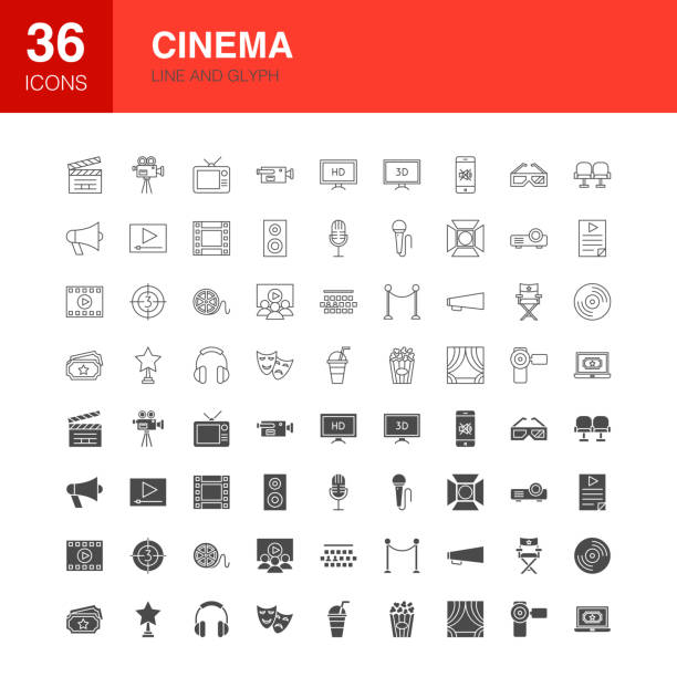 illustrazioni stock, clip art, cartoni animati e icone di tendenza di cinema line web glyph icons - cinema