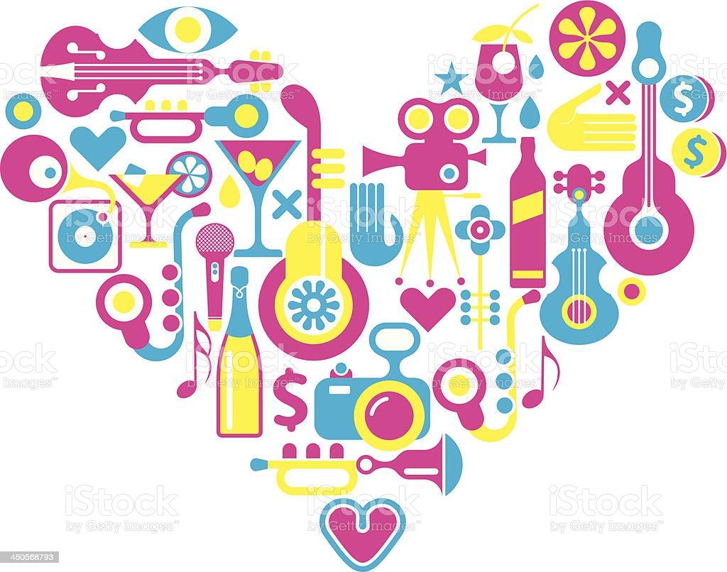 Cinema love - heart with many vector icons royalty-free stock vector art