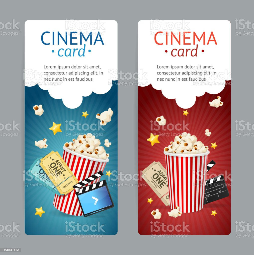 Cinema Movie Card Set. Vector vector art illustration