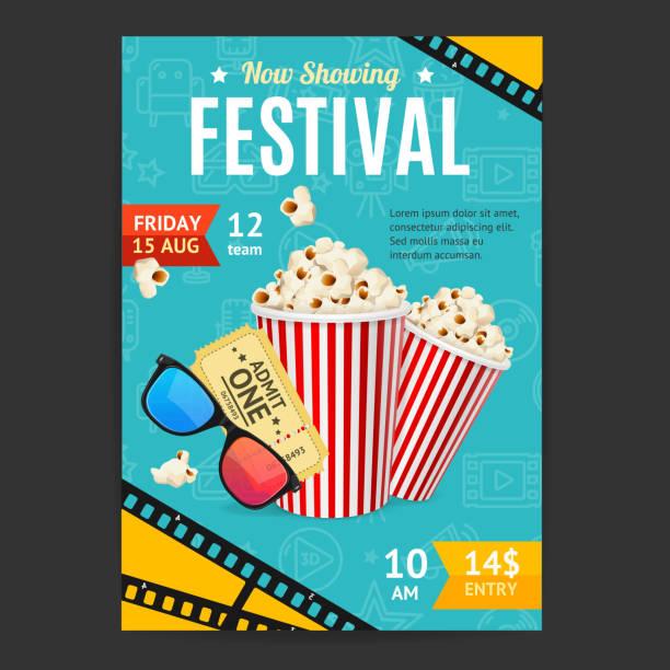 ilustraciones, imágenes clip art, dibujos animados e iconos de stock de festival de cine de película cartel banner tarjeta vector - cine