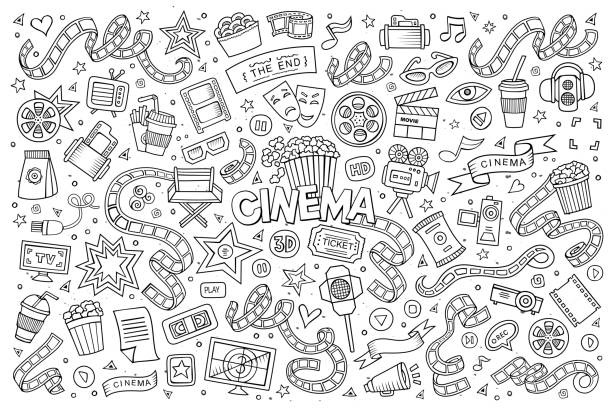 Kino film-Skizzenhafte Kritzeleien Vektor Symbole – Vektorgrafik