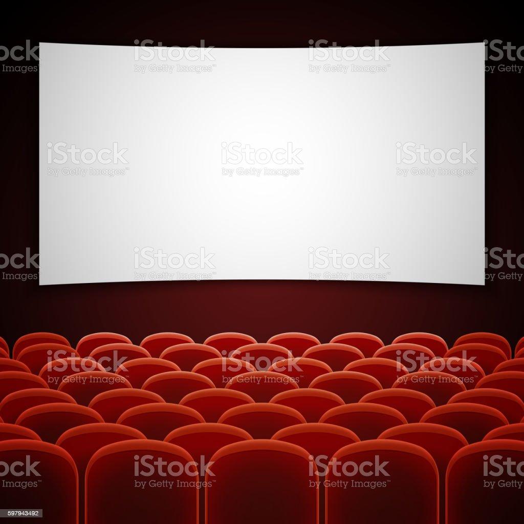 Cinema movie hall with white blank screen. Vector illustration ilustração de cinema movie hall with white blank screen vector illustration e mais banco de imagens de apresentação - discurso royalty-free