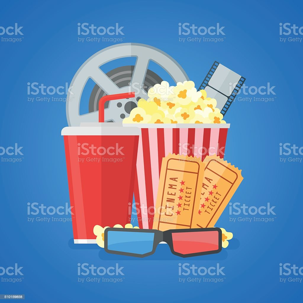 cinema movie poster design template flat style vector illustration