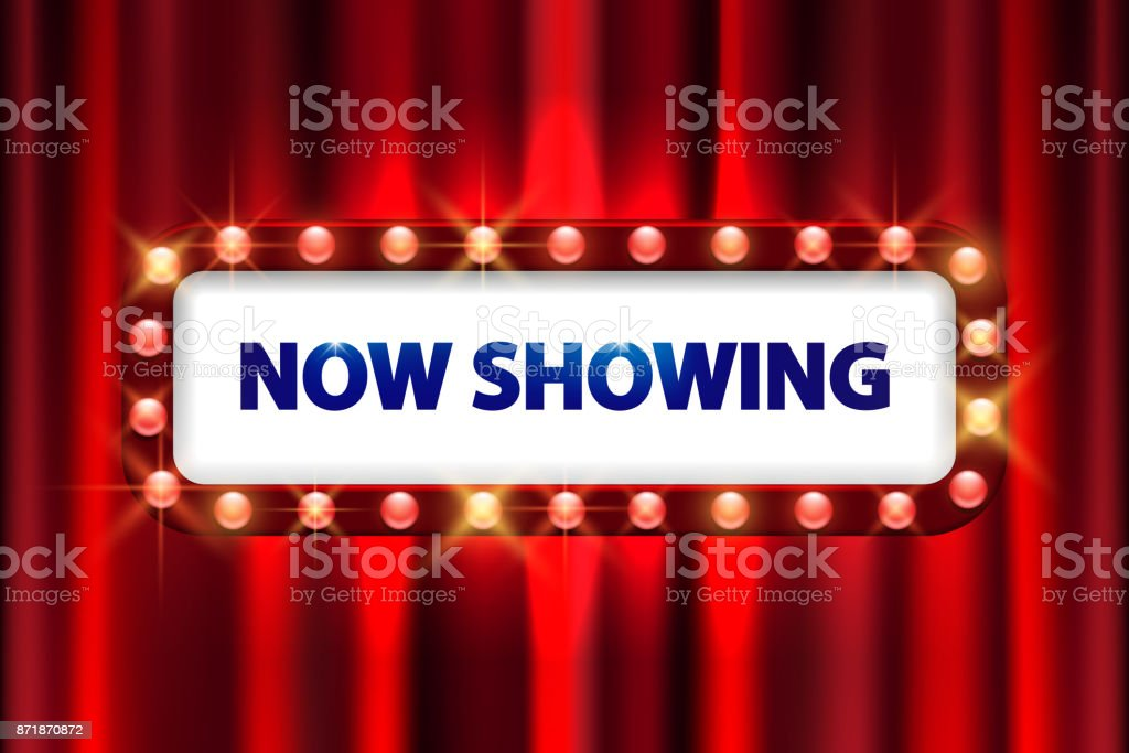 Cinema Movie Poster Design Theater Sign Or On Curtain With Spot Light Frame