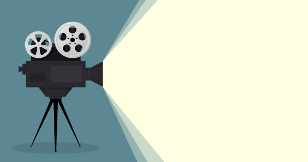 Cinema movie poster wirh camcorder with place for your text. vector art illustration