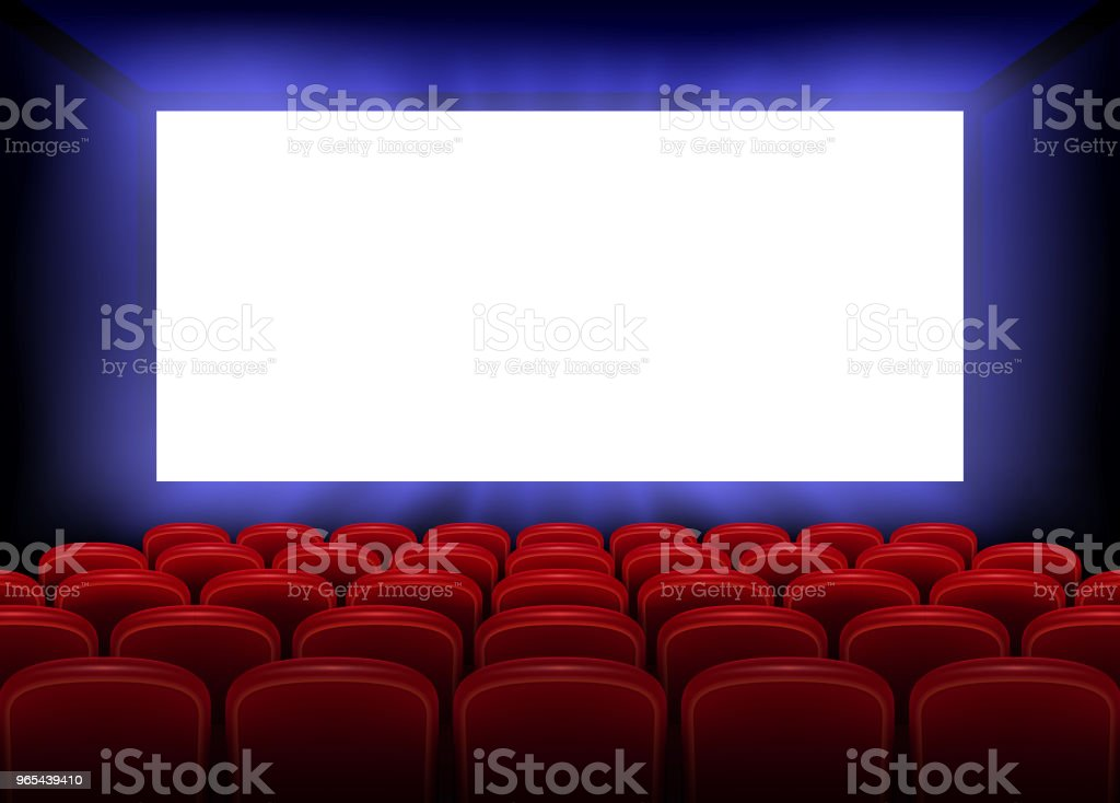 Cinema movie premiere poster design with empty white screen. Realistic cinema hall interior with red seats. Vector illustration royalty-free cinema movie premiere poster design with empty white screen realistic cinema hall interior with red seats vector illustration stock vector art & more images of art