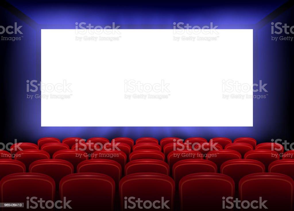 Filme de Cinema estreia projeto de cartaz com a tela branca vazia. Interior de salão de cinema realista com lugares vermelhos. Ilustração vetorial - Vetor de Arte royalty-free