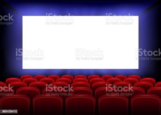 Vetores de Filme De Cinema Estreia Projeto De Cartaz Com A Tela Branca Vazia Interior De Salão De Cinema Realista Com Lugares Vermelhos Ilustração Vetorial e mais imagens de Arte