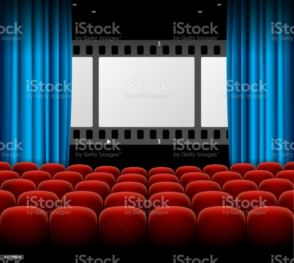 Cinema Movie Retro Concept With Seats Rows, Film Stripe And Curtains.  Vector Royalty