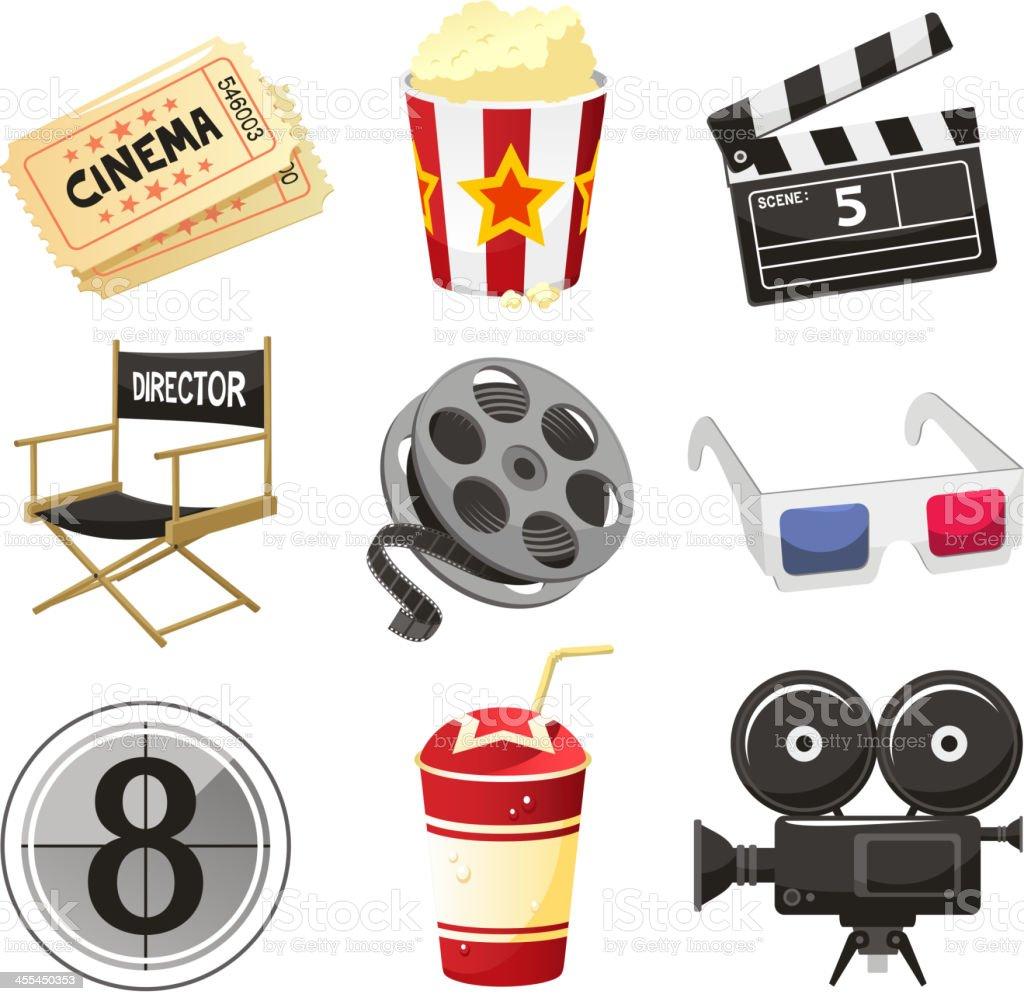 Cinema movie theater Objekte-icon-set – Vektorgrafik