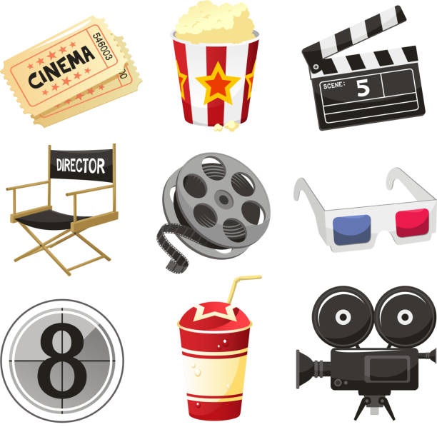 Cinema movie theater objects icon set Cinema movie theater vector objects icon set vector illustration. movie ticket stock illustrations
