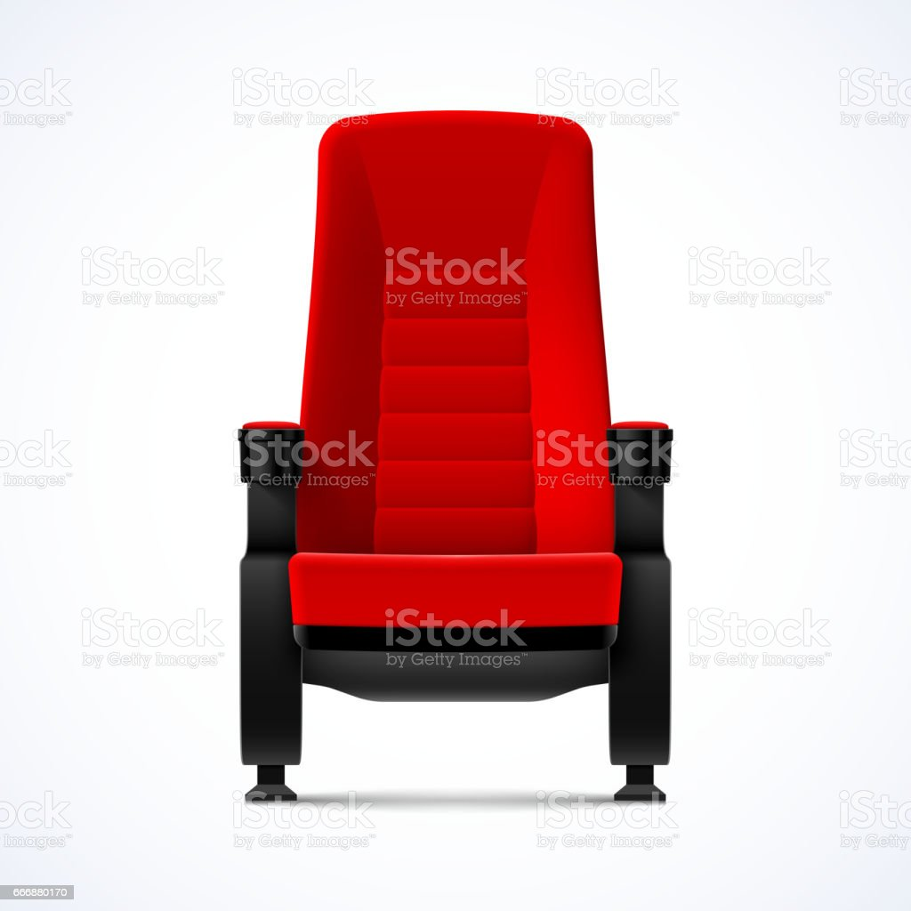 Cinema movie theater red comfortable chair vector art illustration