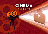 Cinema movie time vector paper cut poster template