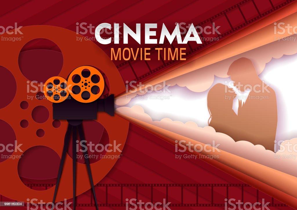 Cine película tiempo vector papel cortar plantilla de cartel - ilustración de arte vectorial