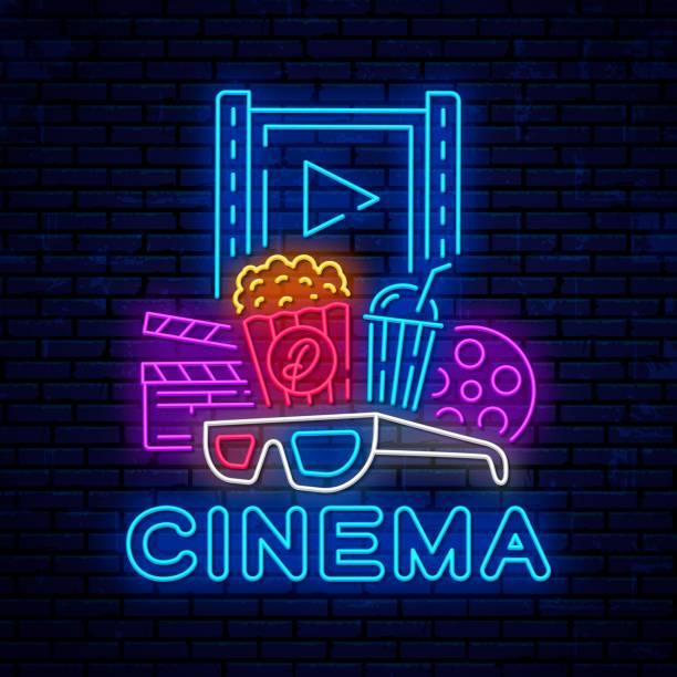 Cinema neon bright night signboard. Cinema neon bright night signboard. Vector cinema banner. Bright logo, emblem and label template design. Night neon advertising. Movie logo. muziekfestival stock illustrations