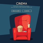 Cinema Night. Home movie watching. Cartoon vector illustration. Red sofa. Web, banner and logo design. Popcorn, cola and 3d glasses. Vintage style. Food and drink