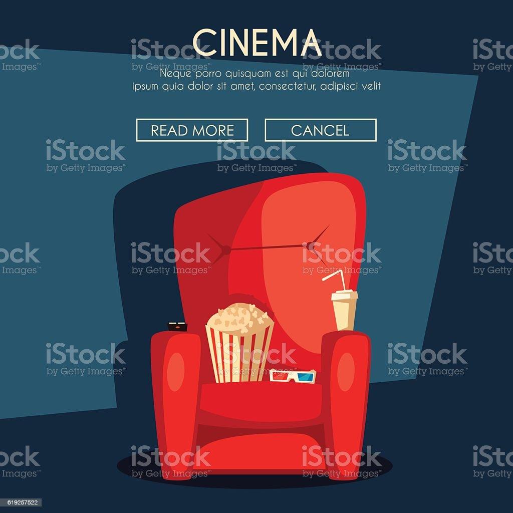 Cinema Night. Home movie watching. Cartoon vector illustration vector art illustration