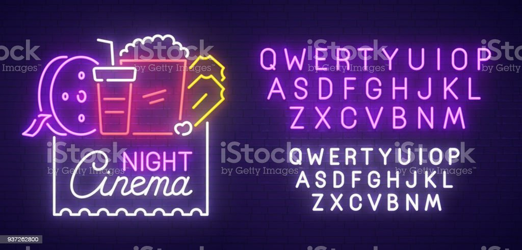 Cinema Night neon sign, bright signboard, light banner. Cinema , emblem and label. Neon sign creator. Neon text edit