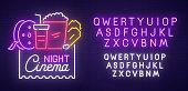 Cinema Night neon sign, bright signboard, light banner. Cinema , emblem and label. Neon sign creator. Neon text edit