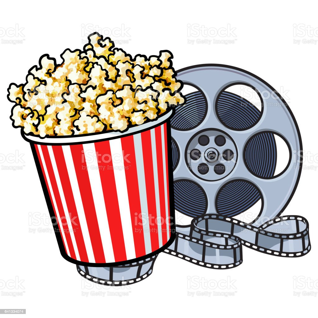 Popcorn bucket clip art border 1 clip art vector site cinema objects popcorn bucket and retro style film reel stock vector rh istockphoto com popcorn bucket template popcorn kernel clip art maxwellsz