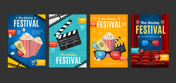 ilustrações de stock, clip art, desenhos animados e ícones de cinema placard set with realistic 3d detailed element. vector - film