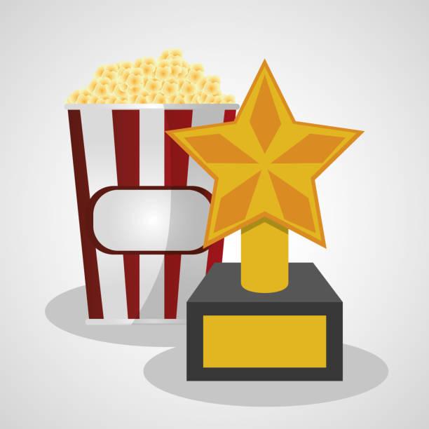 Cine pop maíz y trofeo ganador - ilustración de arte vectorial