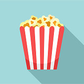 Cinema popcorn box icon. Flat illustration of cinema popcorn box vector icon for web design