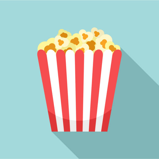 stockillustraties, clipart, cartoons en iconen met bioscoop popcorn vak pictogram, vlakke stijl - popcorn