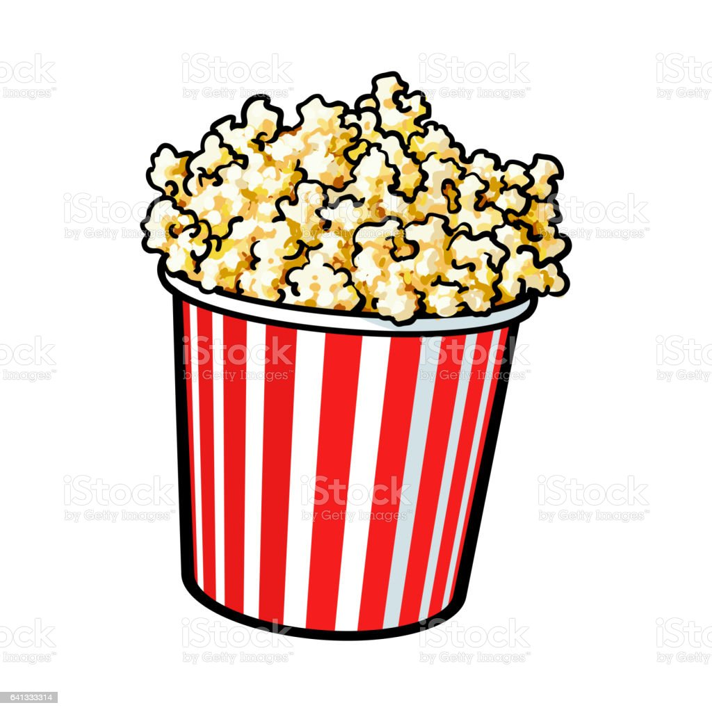 Cinema popcorn in a big red and white striped bucket stock for American cuisine movie online