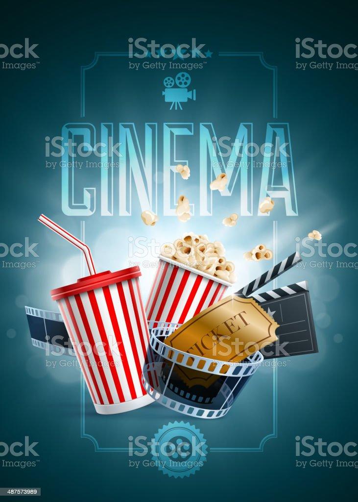 Cinema Poster Design Template vector art illustration