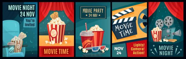 illustrazioni stock, clip art, cartoni animati e icone di tendenza di poster del cinema. film notturni, popcorn e poster di film retrò modello set di illustrazione vettoriale - cinema