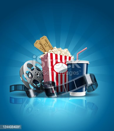 Composition with cola, film-strip, popcorn, tickets on blue background. Entertainment series. All objects are on separate layers. Vector. eps10