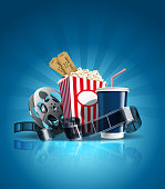 istock Cinema poster with cola, film-strip, and clapper. Vector. 1244034031