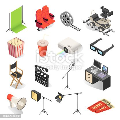 Cinema production and movie watching icon set. Films industry and theatre video shown for public entertainment. Vector illustration on white background