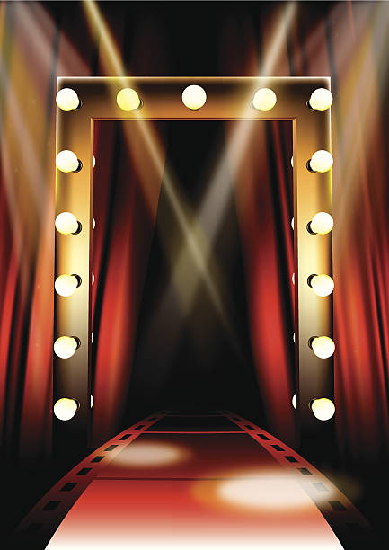 stockillustraties, clipart, cartoons en iconen met cinema red carpet - photography curtains