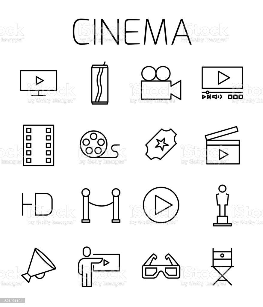 Cinema related vector icon set. vector art illustration