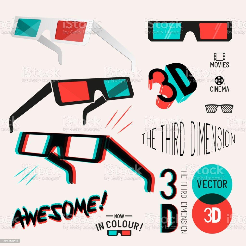 Cinéma 3D lunettes rétro Collection - Illustration vectorielle
