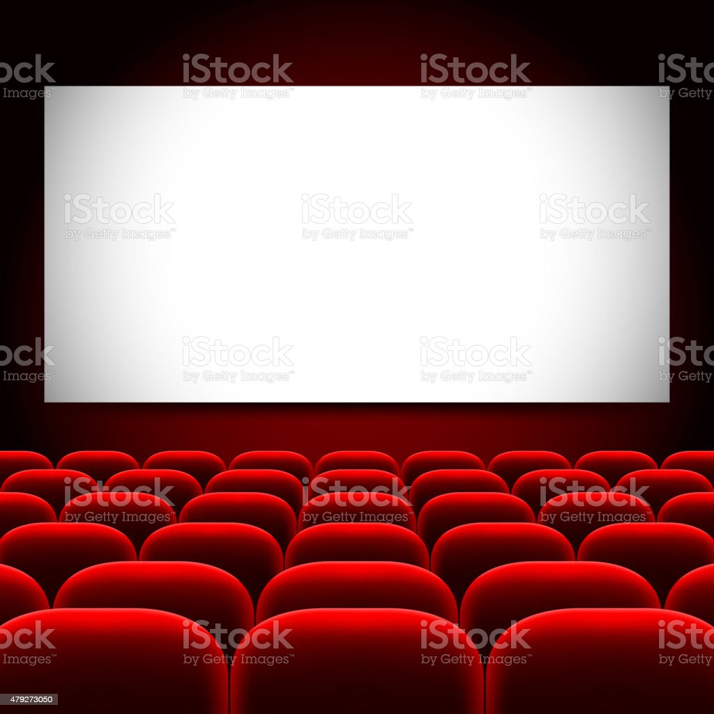Cinema screen and red seats vector background vector art illustration