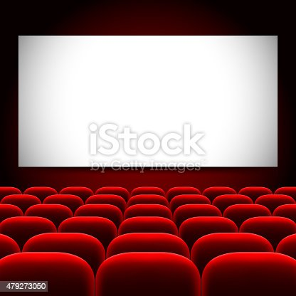 Cinema Screen And Red Seats Vector Background Stock Vector ...