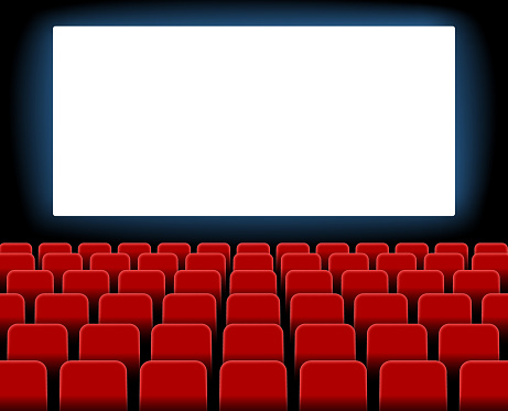 Cinema screen. Cinema with screen and seat. Theater hall with interior. Auditorium for movie, theatre. Empty stage for film. Red chair with scene for presentation. Background for advertising. Vector