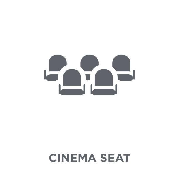 bildbanksillustrationer, clip art samt tecknat material och ikoner med film placerar ikonen från underhållning samling. - sittplats