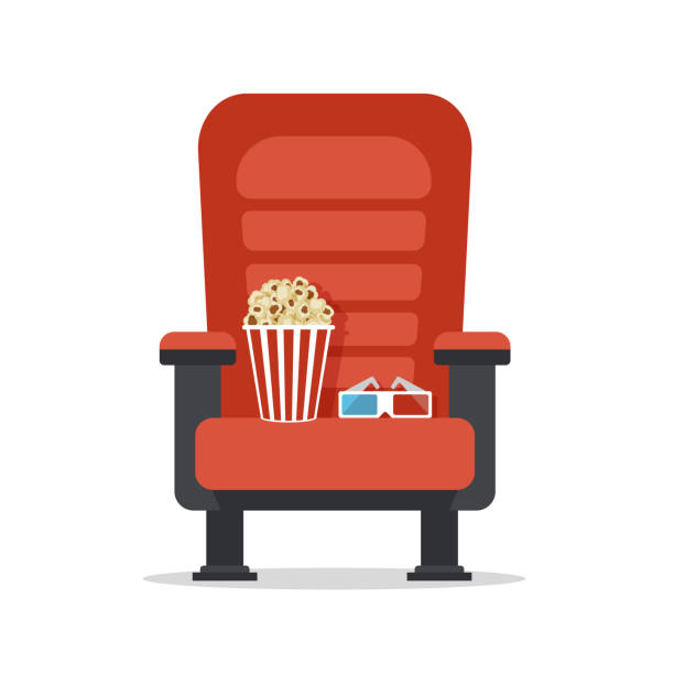 Cinema seat, isolated on white Cinema seat, isolated on white. Movie watching with popcorn and 3D glasses. Film industry. Cinematography concept. Vector illustration. armchair stock illustrations