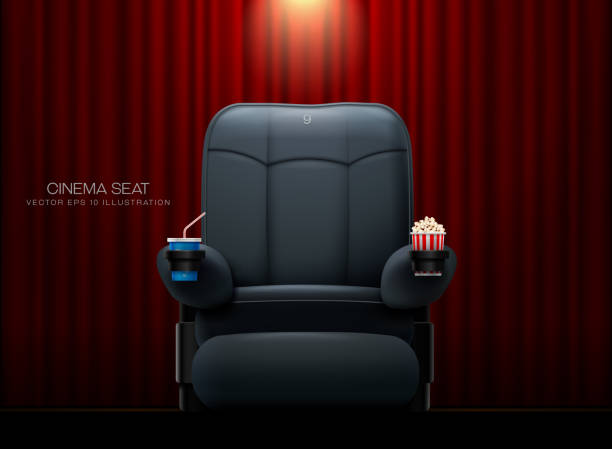 Cinema seat.Theater seat on curtain with spotlight background Cinema seat.Theater seat on curtain with spotlight background armchair stock illustrations