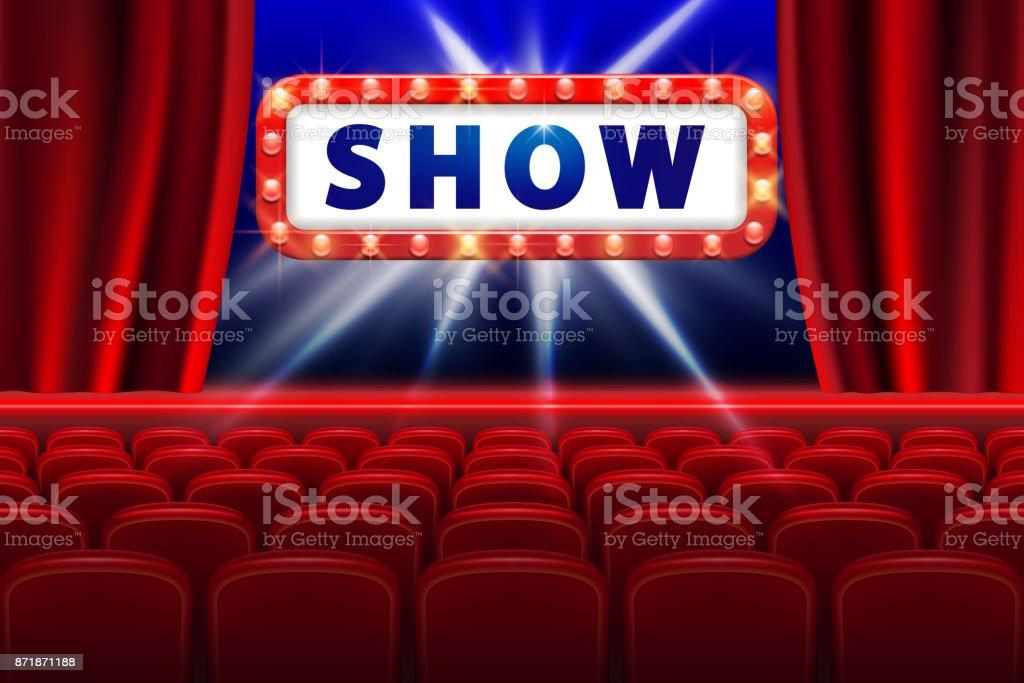 映画はシーンと赤席ライトのデザインを表示しますコンサートパーティ演劇
