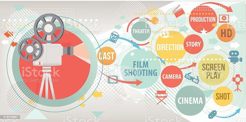 Proyecciones Cinema estudio - ilustración de arte vectorial